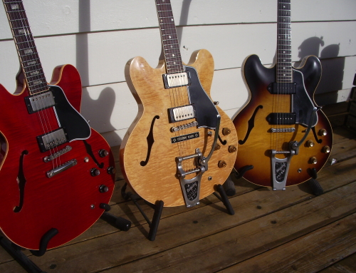 Three ES Style Gibsons On a Deck